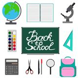 Back to school design. Set of School supplies with Back to school hand drawn lettering. Schoolbag, calculator, notebook, square, g Royalty Free Stock Photo