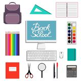 Back to school design. Set of School supplies with Back to school hand drawn lettering. Schoolbag, calculator, paint, watercolor, Royalty Free Stock Images