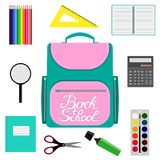 Back to school design. Set of School supplies with Back to school hand drawn lettering. Schoolbag, calculator, paint, watercolor, Stock Image