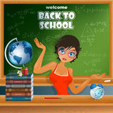 Back to school, design template with cartoon girl character and primary subject matter, school books Stock Photo