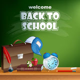 Back to school, design template with chemistry book and school bag Stock Image