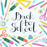 Back to school design template. Frame of stationery goods. Stock Image