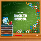 Back to school, design template with primary subject matter, school books and colorful squares mosaic Stock Photo