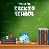 Back to school, design template with primary subject matter, school books and different formulas on the board Royalty Free Stock Photography