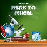 Back to school, design template with school book, microscope and  alarm clock Stock Image