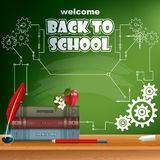 Back to school, design template with school books, chalk, pencil, apple and flower Royalty Free Stock Photos