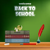 Back to school, design template with school books and feather in ink bottle Royalty Free Stock Image