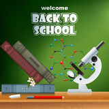 Back to school, design template with school books and microscope Stock Photos