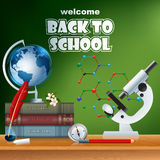 Back to school, design template with school books, microscope, Earth globe and compass Stock Image