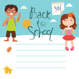 Back to school Design with two kids Royalty Free Stock Photography