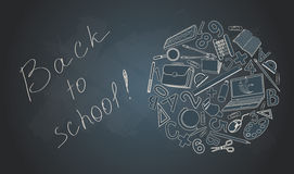 Back to school on desk with school supplies. Royalty Free Stock Photo