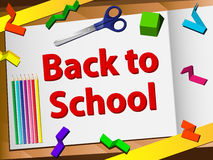 Back to School Desk with Scissors Royalty Free Stock Photos