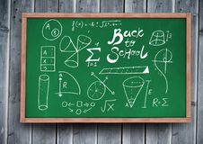 Back to school diagrams on blackboard. Digital composite of back to school diagrams on blackboard Royalty Free Stock Image