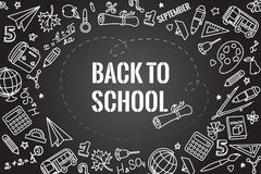 Back to school. Different drawing objects on dark blackboard. Vector illustration. EPS 10 royalty free illustration