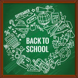 Back to school. Different drawing objects on green blackboard. Vector illustration. EPS 10 vector illustration