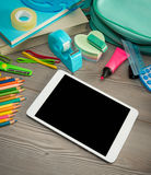 Back to school with digital tablet Stock Image