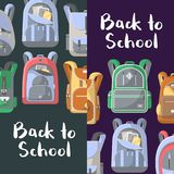 Back to school discount flyers set with backpacks Stock Photo