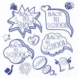 Back to school. Doodle background with set of hand drawn speech Stock Photography