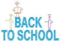 Back to school doodle banner with cute stick figures. Doodle figures with pencil,ruler and notebook, back to school text on white background Stock Photo