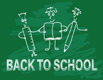 Back to school doodle banner. Doodle figures with pencil,ruler and notebook, back to school text on green board background Stock Photo