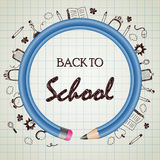 Back to school doodle with blue pencil circle Royalty Free Stock Images
