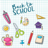 Back to school doodle clip art greeting card Royalty Free Stock Photos