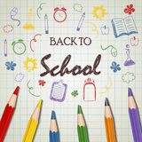 Back to school doodle with color pencil. Illustration of Back to school doodle with color pencil Stock Photos