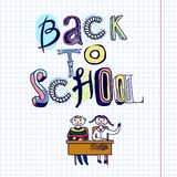 Back to school doodle concept. Sketch hand drawn doodle back to school concept with kids at desk vector illustration stock illustration