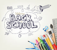 Back to School Doodle concept in white background with School Items Stock Photography