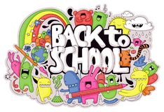 Back to School doodle. Cute hand-drawn school related doodle with different creatures, monsters and the text `Back to School Stock Image