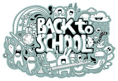 Back to School doodle. Cute hand-drawn school related doodle with different creatures and the text `Back to School Stock Photo