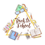 Back to School Doodle. Education Concept. Hand Drawn Set with Books, Notebook and Pen Stock Image