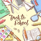 Back to School Doodle. Educational Concept. Hand Drawn Background with Books, Notebook and Pen Stock Image
