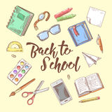 Back to School Doodle. Educational Concept. Hand Drawn Set with Books, Notebook and Pen Royalty Free Stock Images