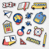 Back to School Doodle. Educational Stickers, Patches and Badges with Book, Pen and Globe Royalty Free Stock Photos