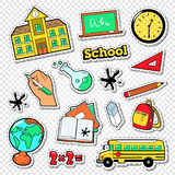 Back to School Doodle. Educational Stickers, Patches and Badges with Mathematics, Backpak and Books Stock Photos
