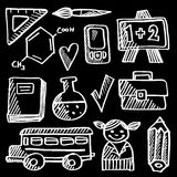 Back to school doodle icons, sketches vector illustration