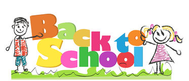 Back to school with doodle kids and colorful letters vector illustration Royalty Free Stock Images