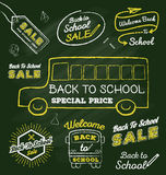 Back to school doodle label set on chalkboard Royalty Free Stock Photo
