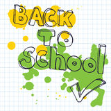 Back to school doodle lettering and small pencil. Vector illustration with green and yellow blots at quad ruled paper. Royalty Free Stock Photo