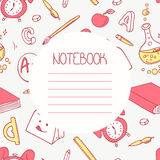 Back to school doodle notebook design and hand Royalty Free Stock Images