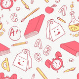 Back to school doodle objects background. Hand drawn school supplies seamless pattern Royalty Free Stock Photos