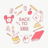 Back to school doodle objects background. Hand drawn school supplies Royalty Free Stock Photo