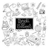 Back to school doodle poster black. Back to school kit supplies and basic accessories for young scholar poster black doodle abstract vector illustration Stock Photos