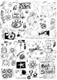 Back to school, doodle school symbols isolated Stock Photo
