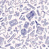 Back to School Doodle Seamless Pattern. Blue Ballpen Drawing on Red Line Paper royalty free illustration
