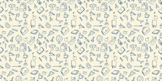 Back to school doodle seamless pattern drawing background lineart design vector illustration