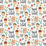 Back to school. Doodle seamless pattern with funny kids. Autumn background Stock Image