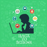 Back to School. Doodle set, colored icons flat. Online education concept, silhouettes of students. Hand drawn illustration vector illustration