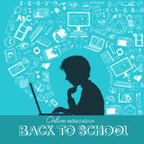 Back to School. Doodle set, colored icons flat. Online education concept, silhouettes of students. Hand drawn illustration royalty free illustration